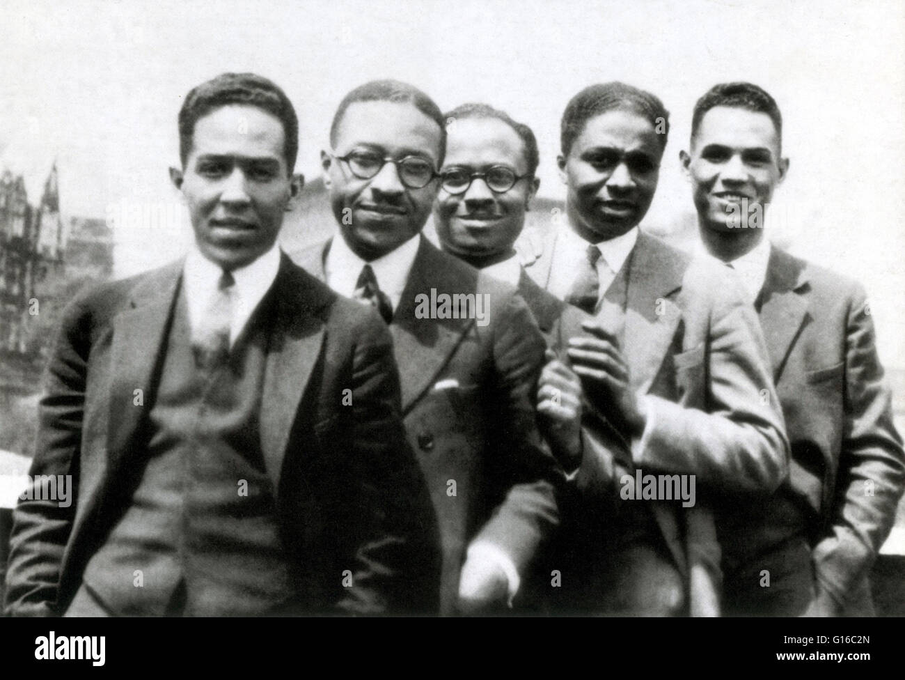 Pictured here are Langston Hughes (far left) with (left to right): Charles S. Johnson, E. Franklin Frazier, Rudolph - Stock Image