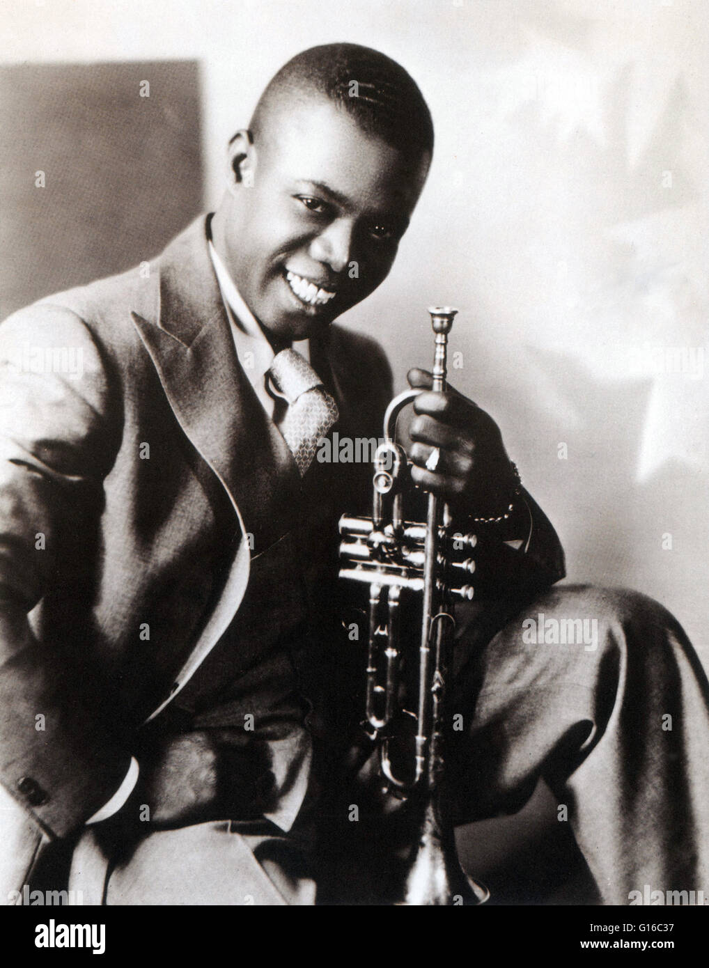 Armstrong circa 1930. Louis Armstrong (August 4, 1901 - July 6, 1971) was an American jazz trumpeter and singer. Stock Photo