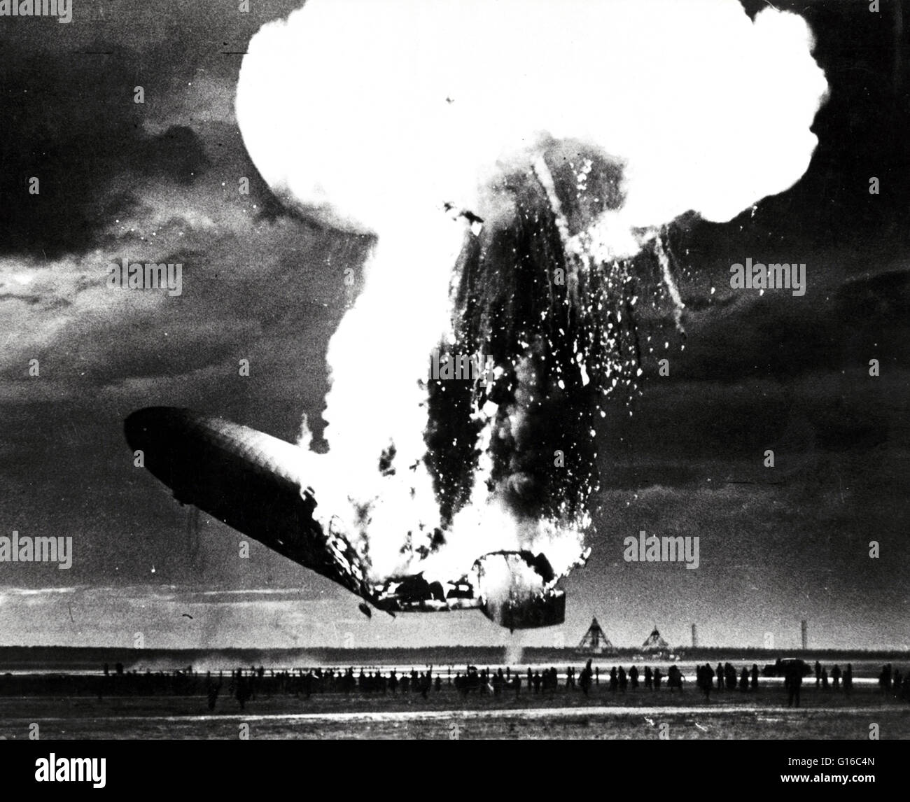 The Hindenburg disaster took place on Thursday, May 6, 1937, as the German passenger airship LZ 129 Hindenburg caught - Stock Image