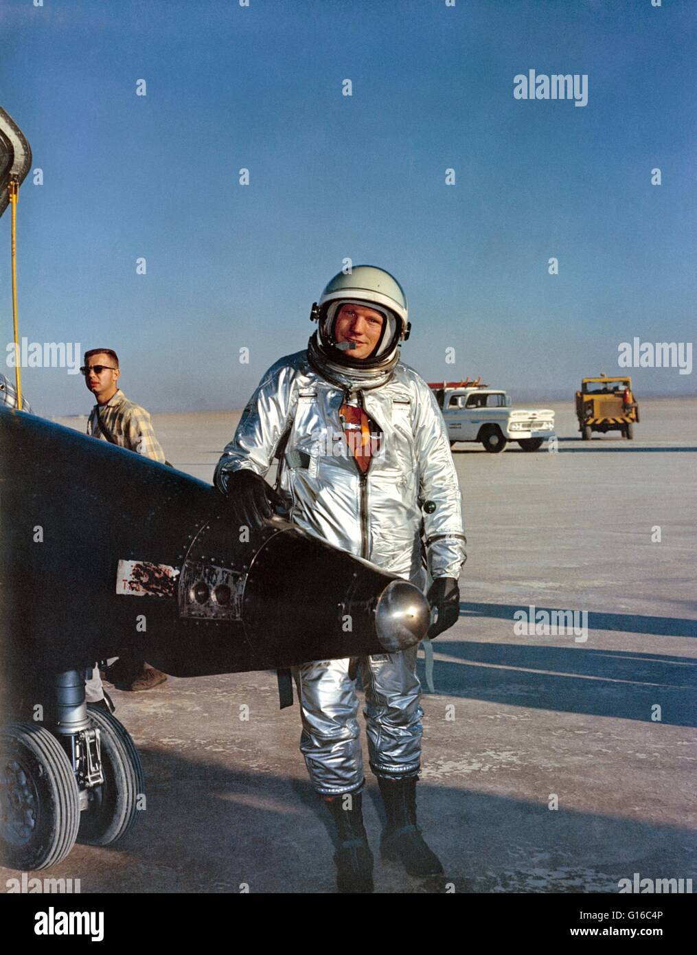 X-15 pilot Armstrong, beside his airplane following a flight at Edwards Air Force Base. Neil Alden Armstrong (August Stock Photo