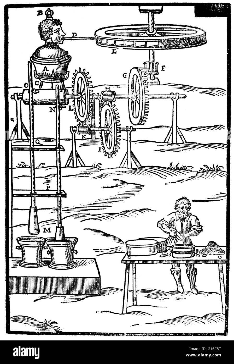 Invention designed by Branca. Steam blower powering a double pestle. Le machine, Rome 1629. Giovanni Branca (April - Stock Image
