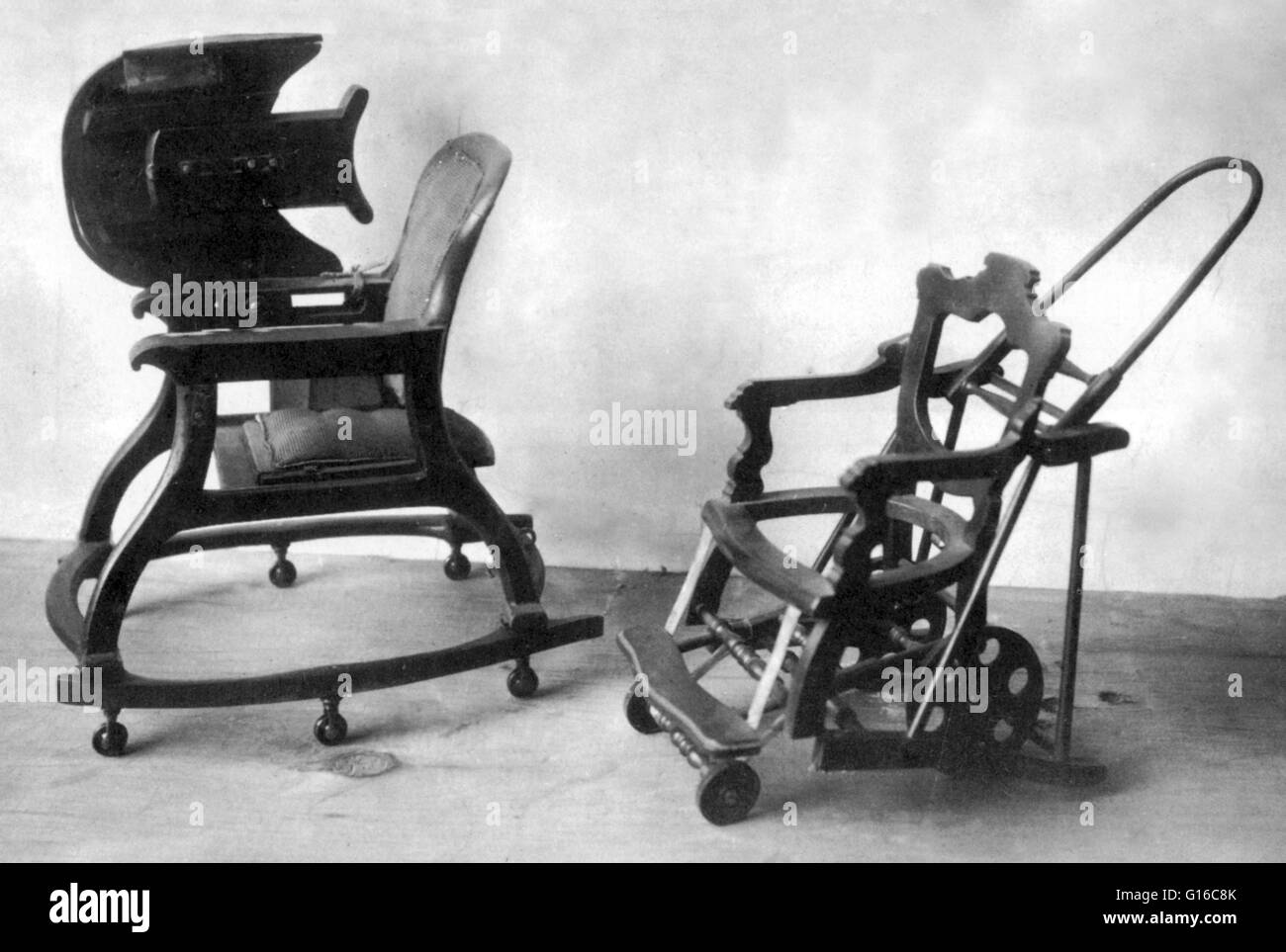 Undated photograph of two baby chairs so complicated that the Patent ...