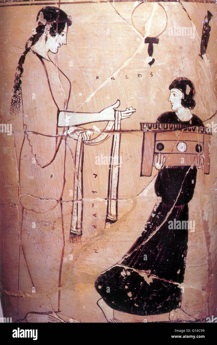 Greek White Ground Lekythos, Detail of Woman with Maid, 460 BC. Because of its relative durability, pottery comprises - Stock Image