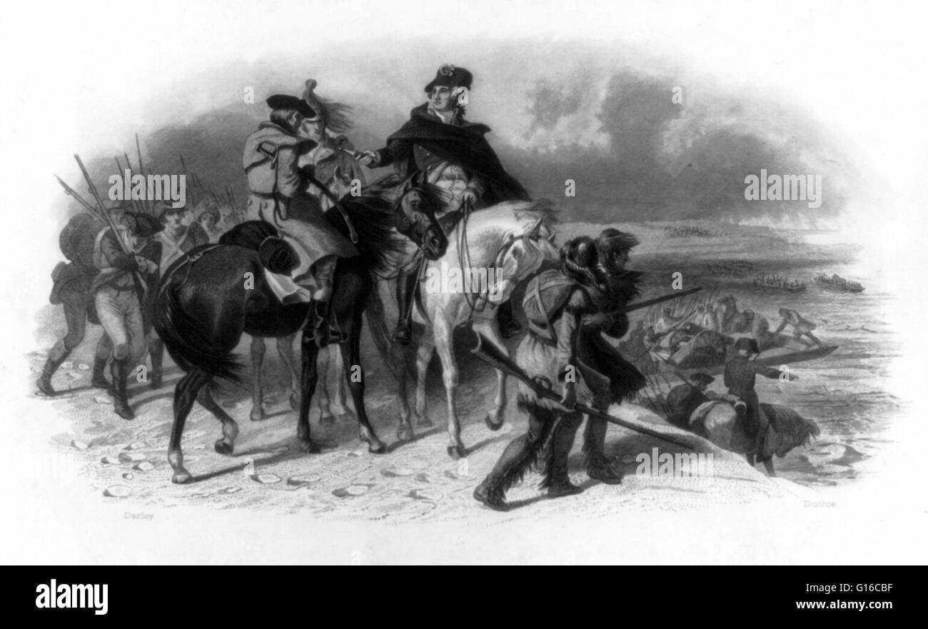Engraving by James Duthie showing Washington on horseback, with others on horseback, on foot, and in boats with - Stock Image