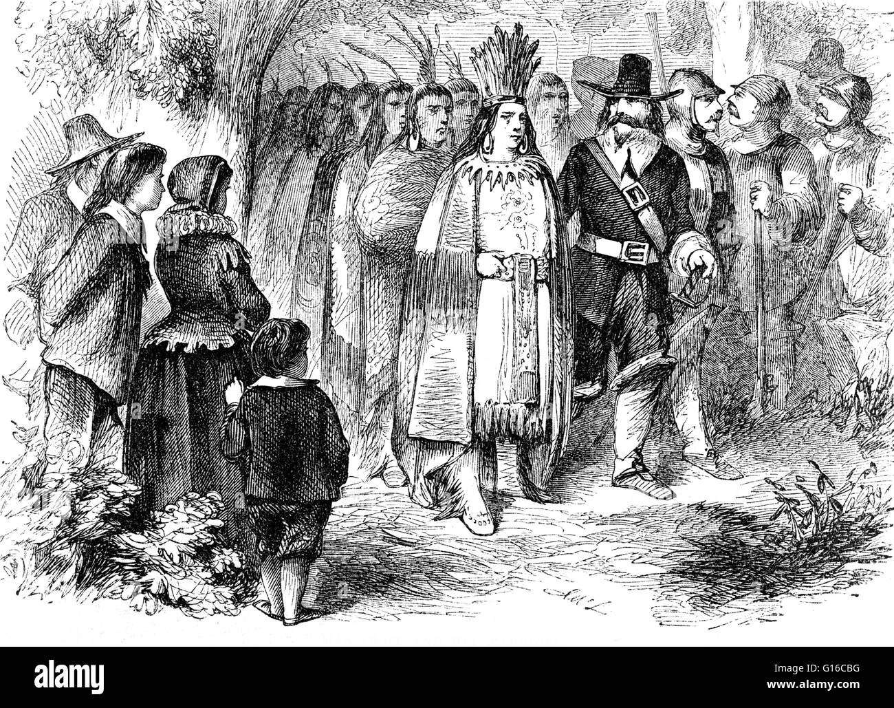 Engraving by Albert Bobbett entitled: 'Landing of the pilgrims'. Massasoit Sachem or Ousamequin (1581 - - Stock Image