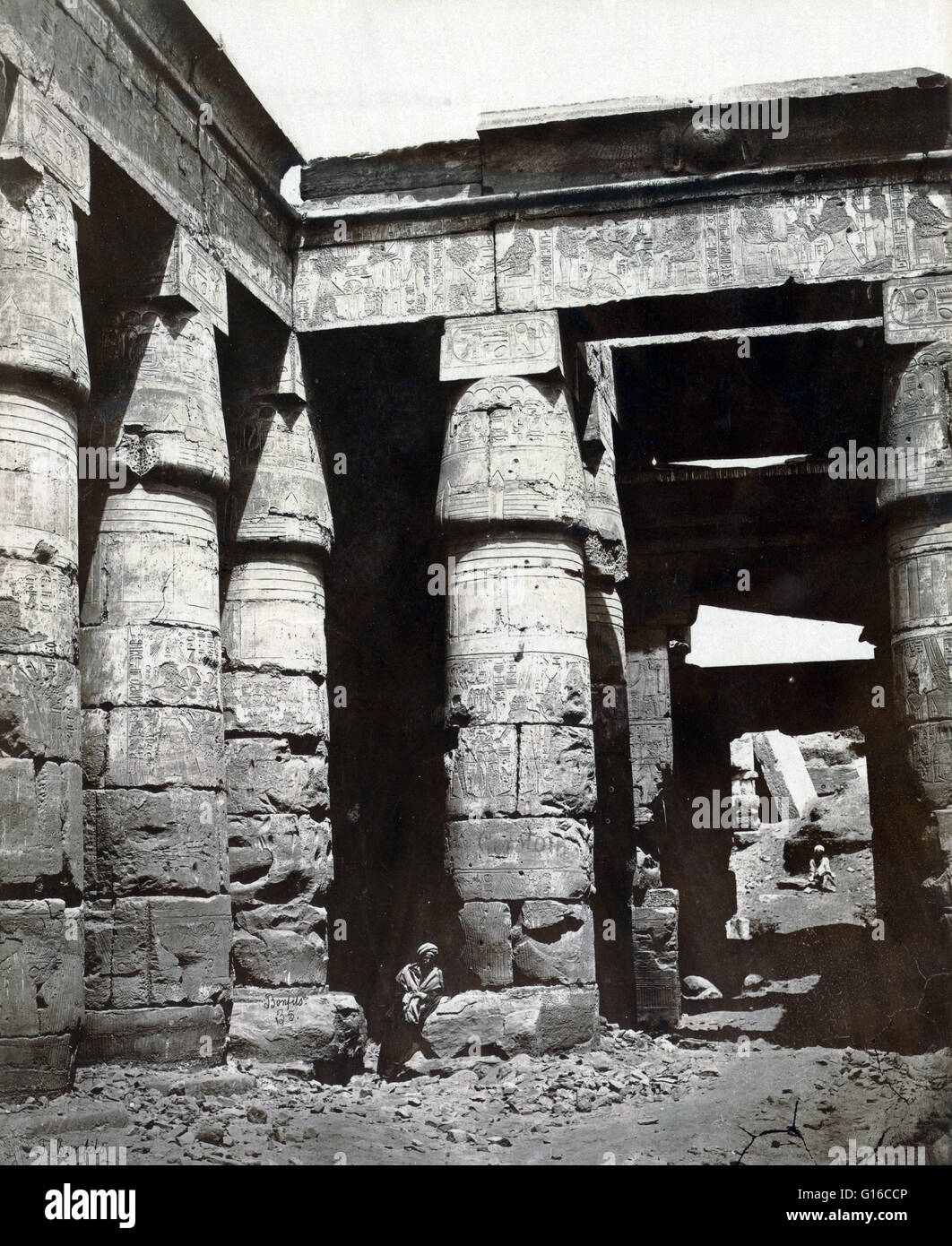 Interior of the Temple of Ramses IV in Thebes, photographed by Maison Bonfils, circa 1867-1885. Ramesses IV was - Stock Image