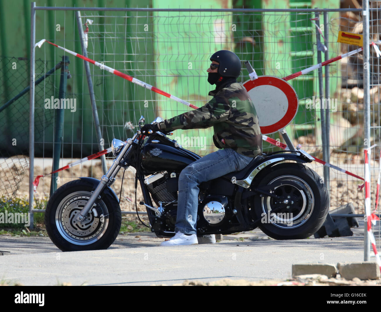 Harley Davidson with reflection of Pesch, Germany, on chrome gearbox, crop of G16CEC - Stock Image