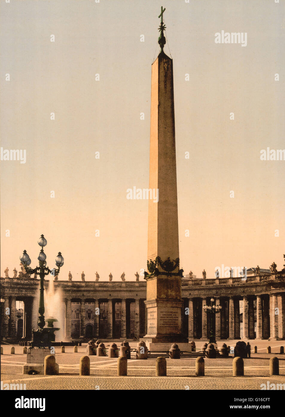 St. Peter's Place, the obelisk, Rome, Italy. The obelisk was originally erected at Heliopolis by an unknown - Stock Image