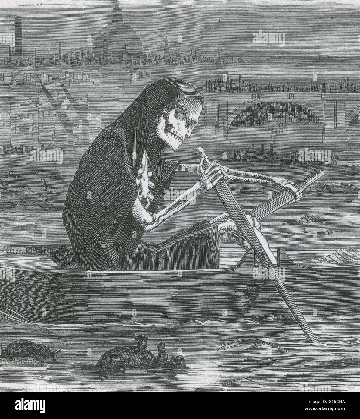 Punch Cartoon from 1858, during the Great Stink in London, depicting the Thames as the River Styx. In the summer - Stock Image