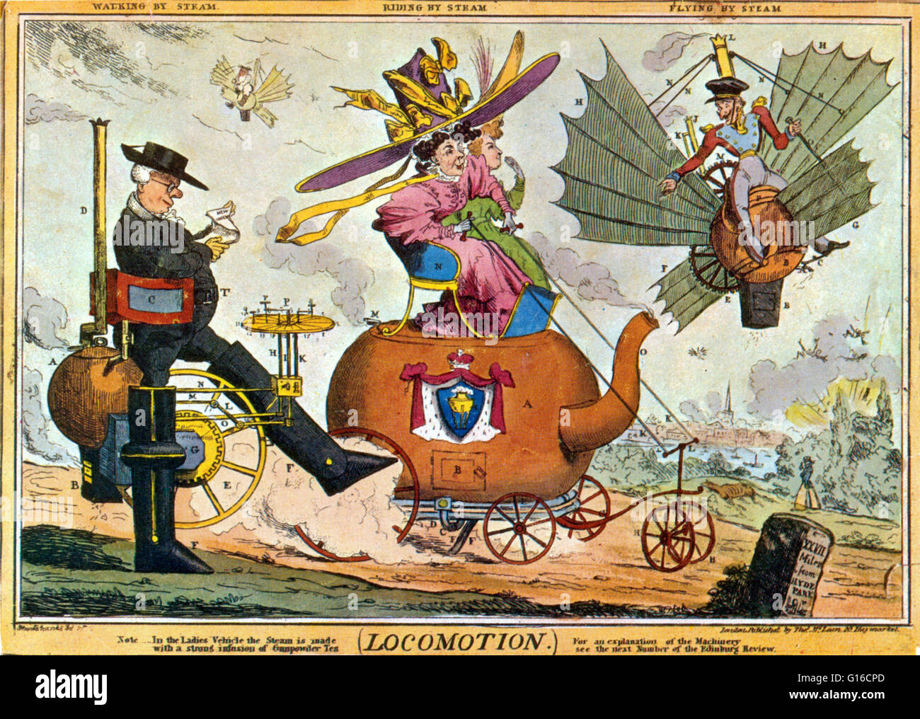 Locomotion - Walking by Steam, Riding by Steam, Flying by Steam, by Robert Seymour, 1830. Satire on the coming of - Stock Image