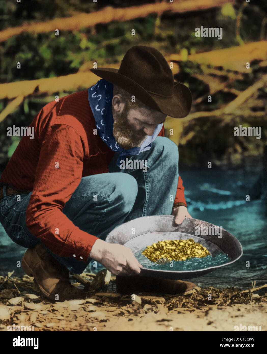 Color enhanced image of a prospector panning for gold in for Where to buy photography