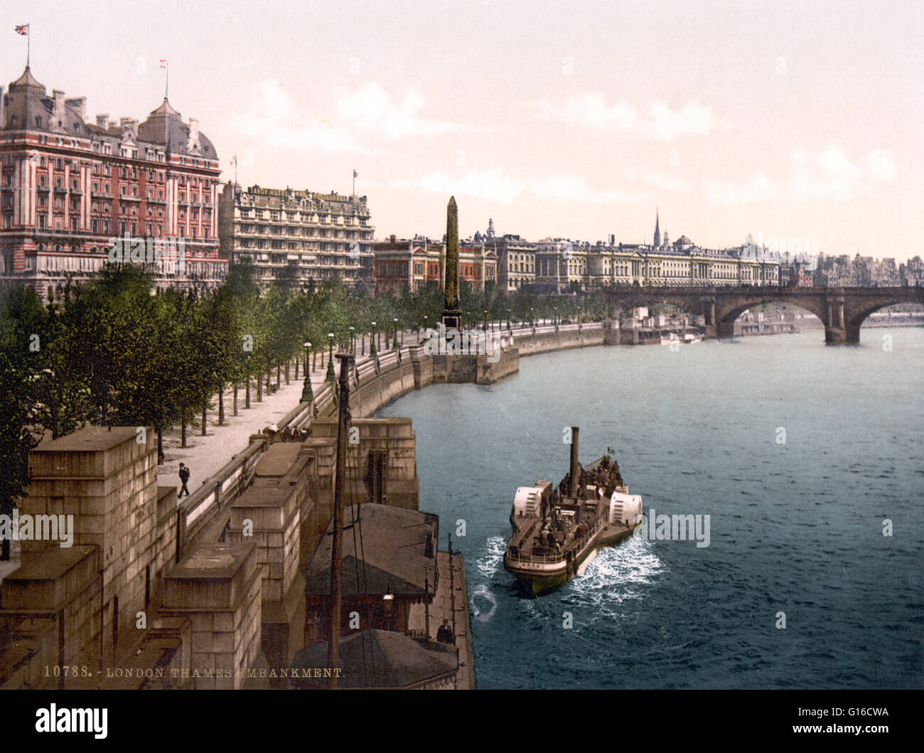 Thames embankment, London, England. The Thames Embankment was a major feat of 19th century civil engineering designed - Stock Image