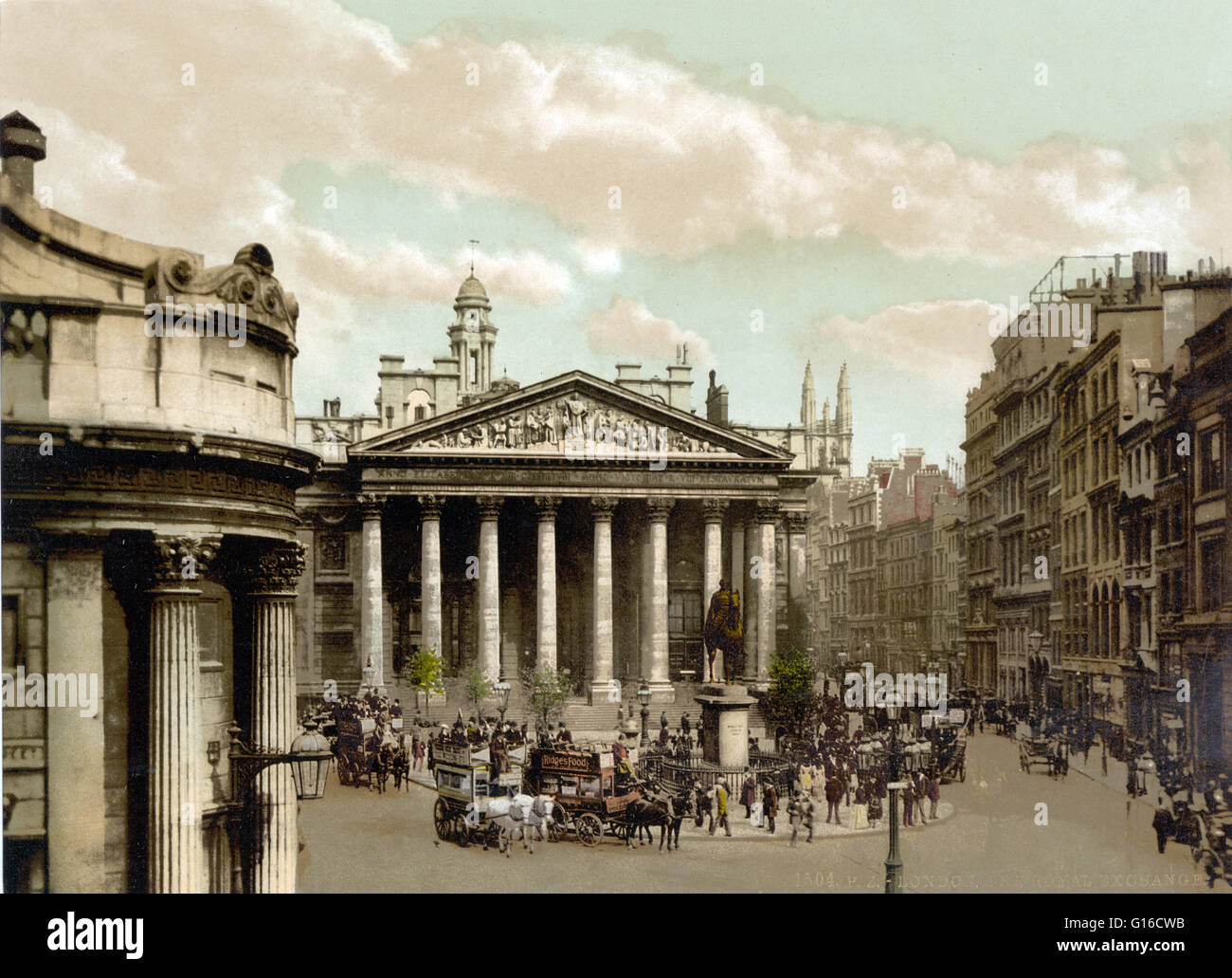 The Royal Exchange in London was founded in the 16th century by the merchant Thomas Gresham to act as a center of - Stock Image