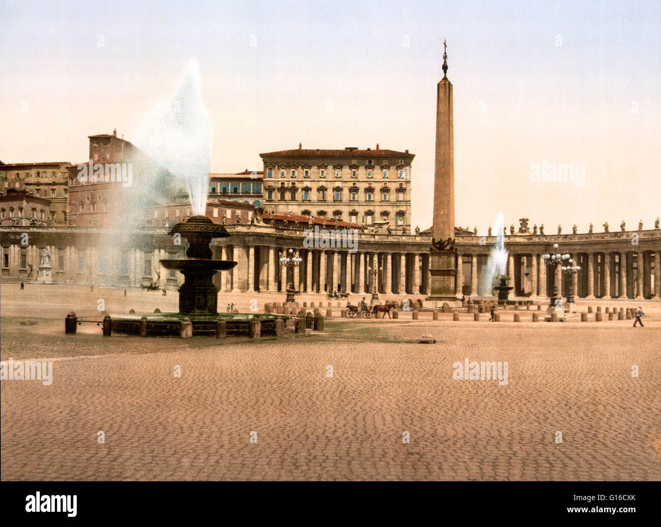St. Peter's Square is a massive plaza located directly in front of St. Peter's Basilica in the Vatican City, - Stock Image
