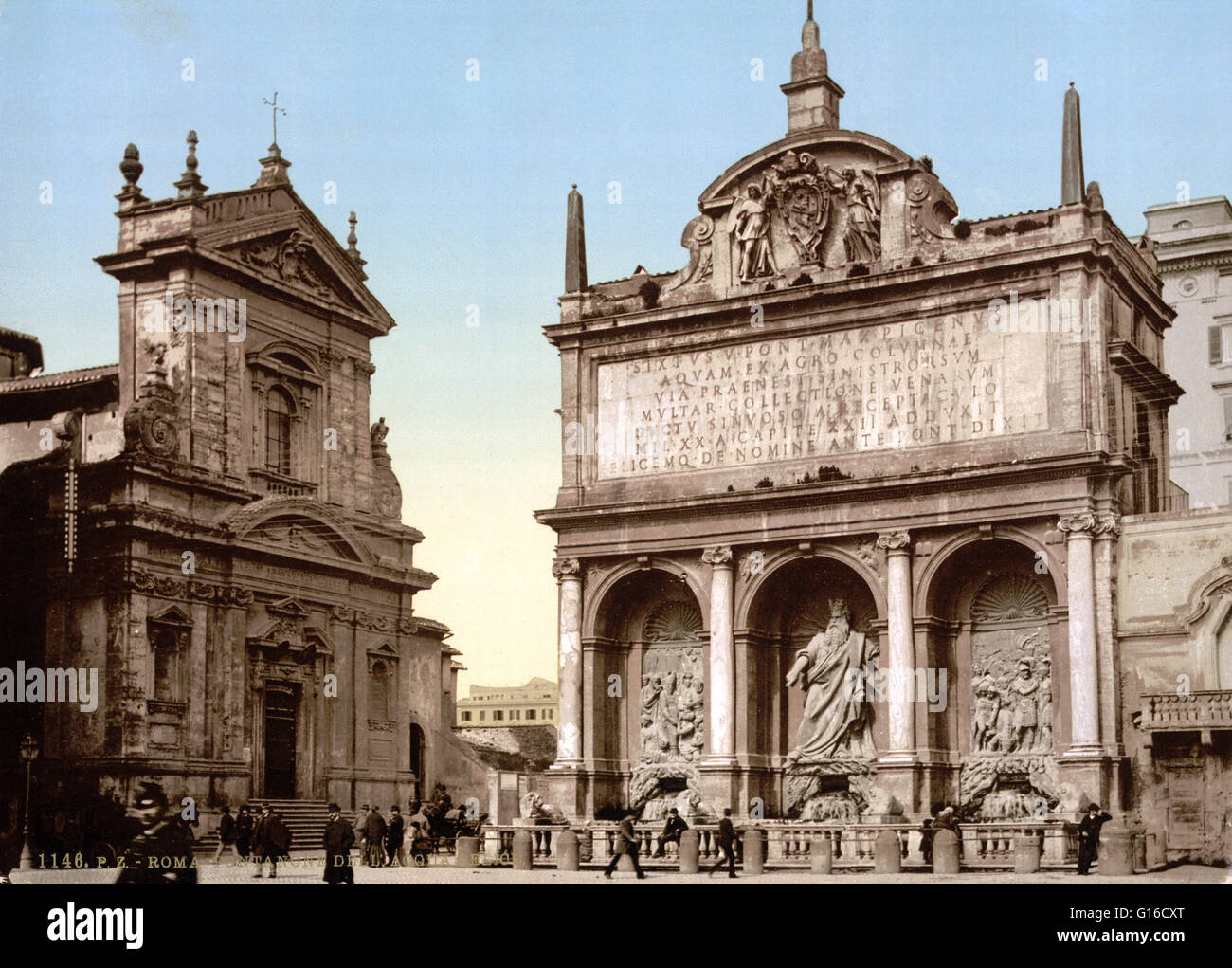 The Fontana dell'Acqua Felice, also called the Fountain of Moses, is a monumental fountain located in the Quirinale - Stock Image