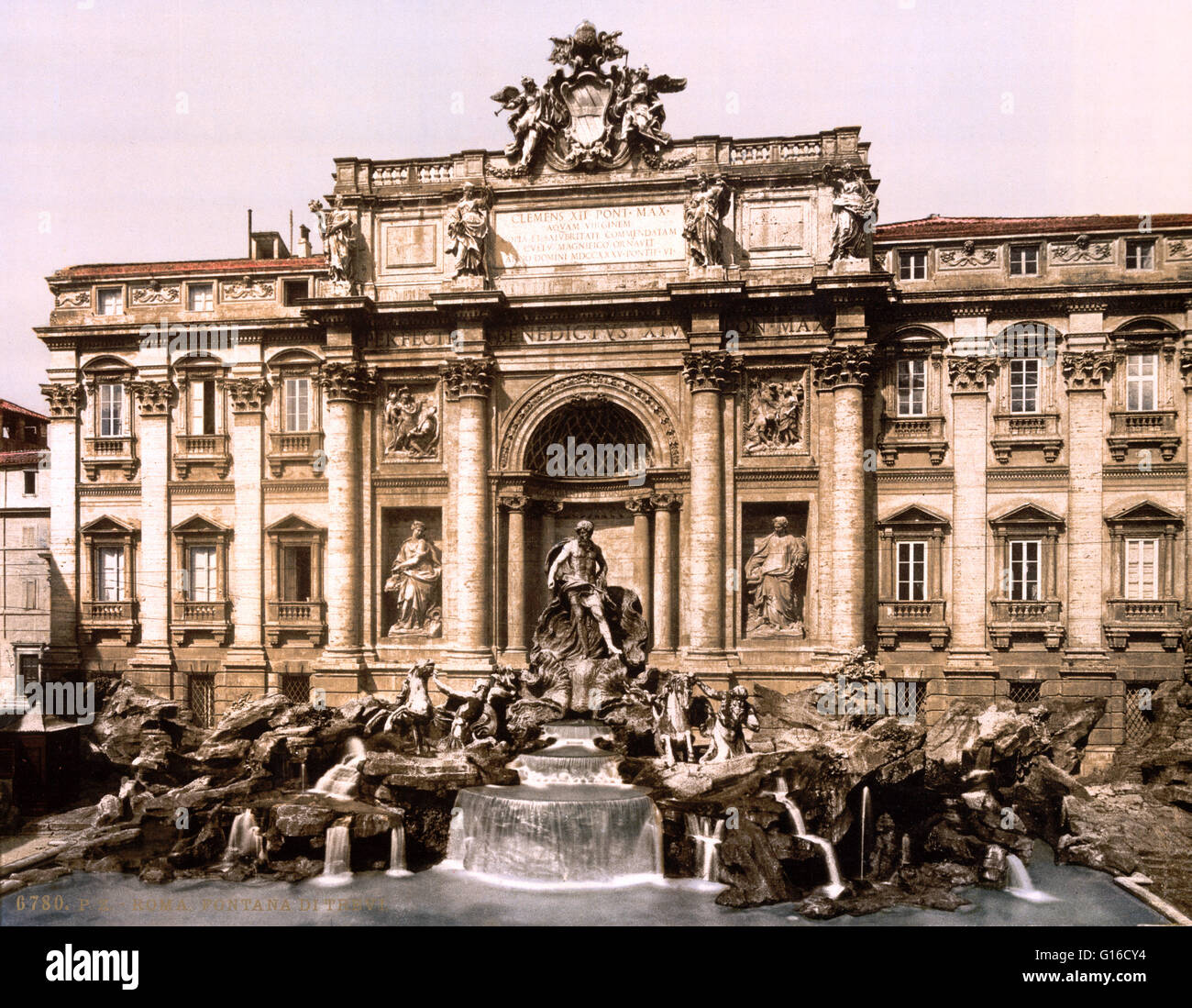 Trevi Fountain is a fountain in the Trevi district in Rome, Italy, designed by Italian architect Nicola Salvi and Stock Photo