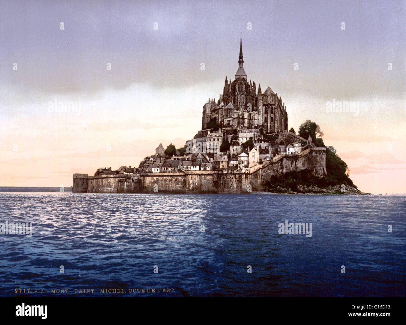 Mont Saint-Michel is an island commune in Normandy, France. It is located approximately 1/2 mile off the country's - Stock Image