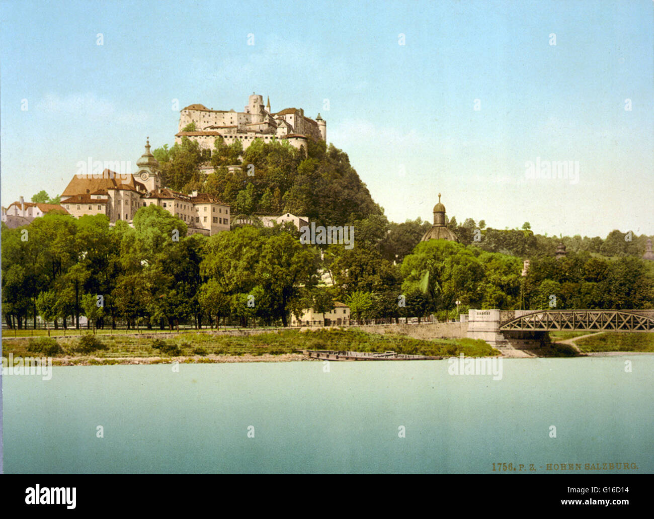 Hohensalzburg Castle sits atop the Festungsberg, a small hill in the Austrian city of Salzburg. Erected at the behest Stock Photo