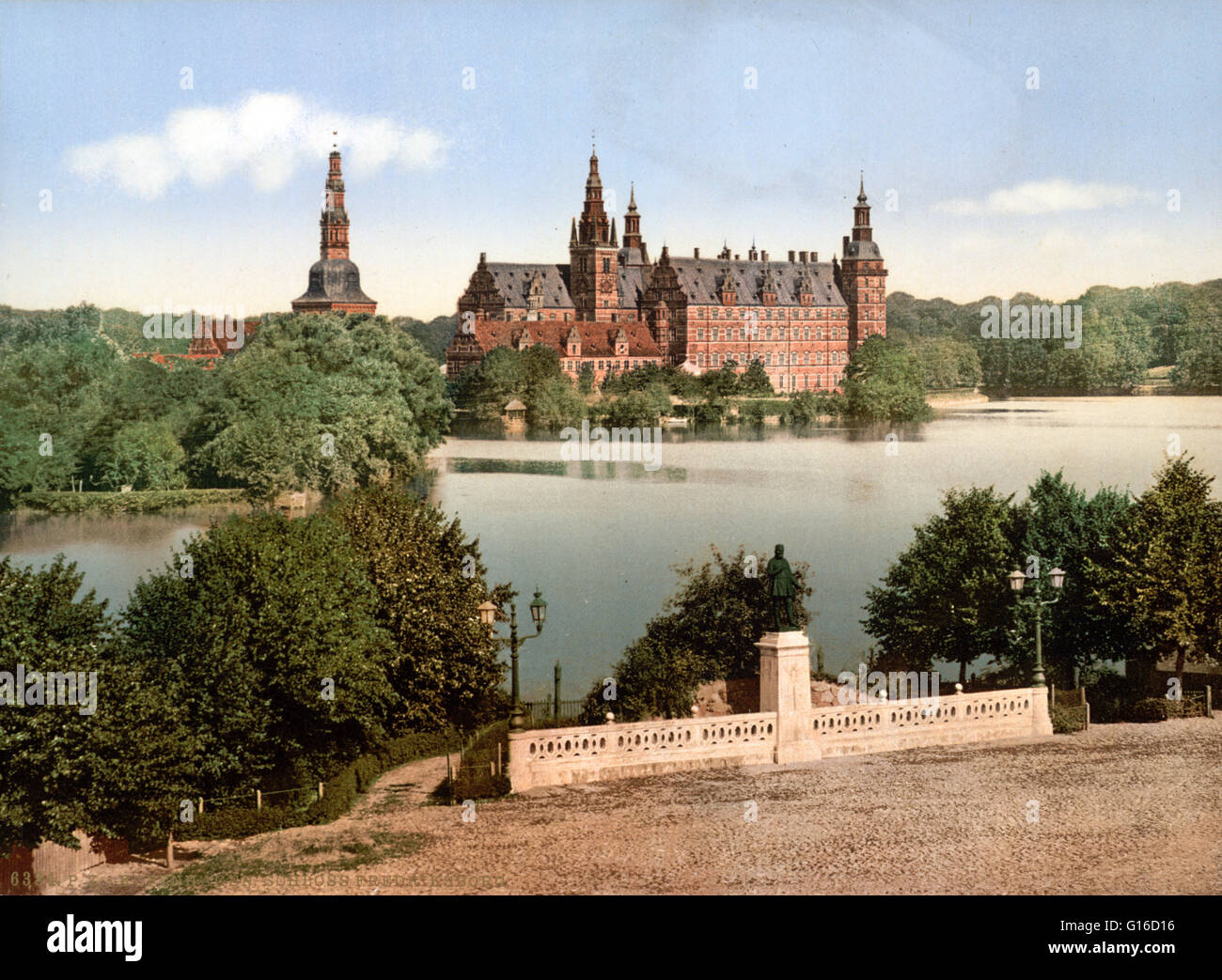 Frederiksborg Castle is a palace in Hillerod, Denmark. It was built as a royal residence for King Christian IV and Stock Photo