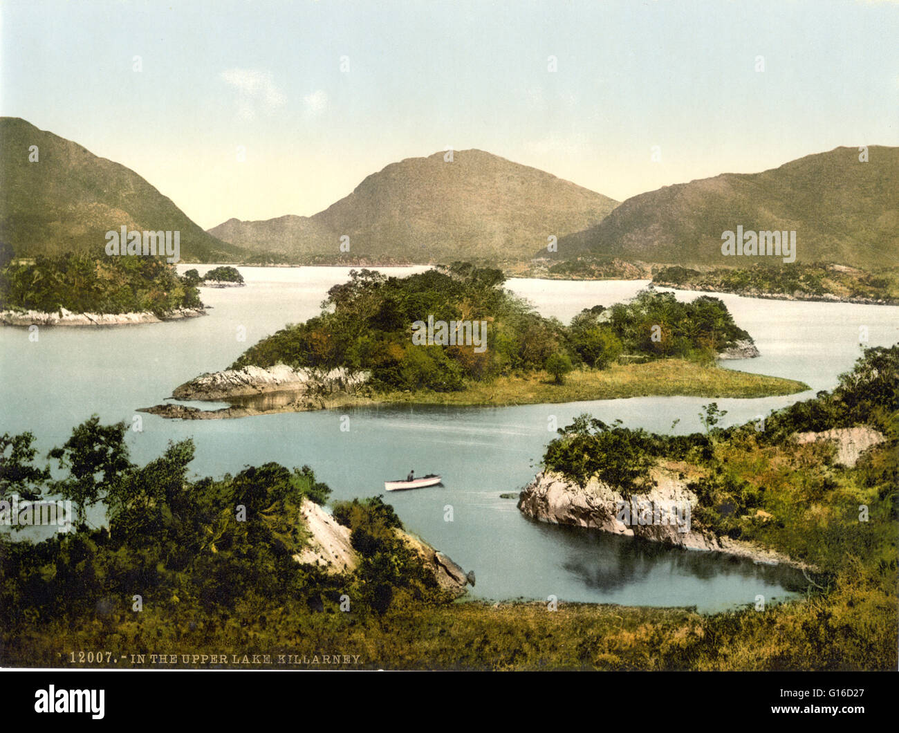 In the Upper Lake, Killarney, County Kerry, Ireland photographed by the Detroit Publishing Company circa 1890-1900. Stock Photo