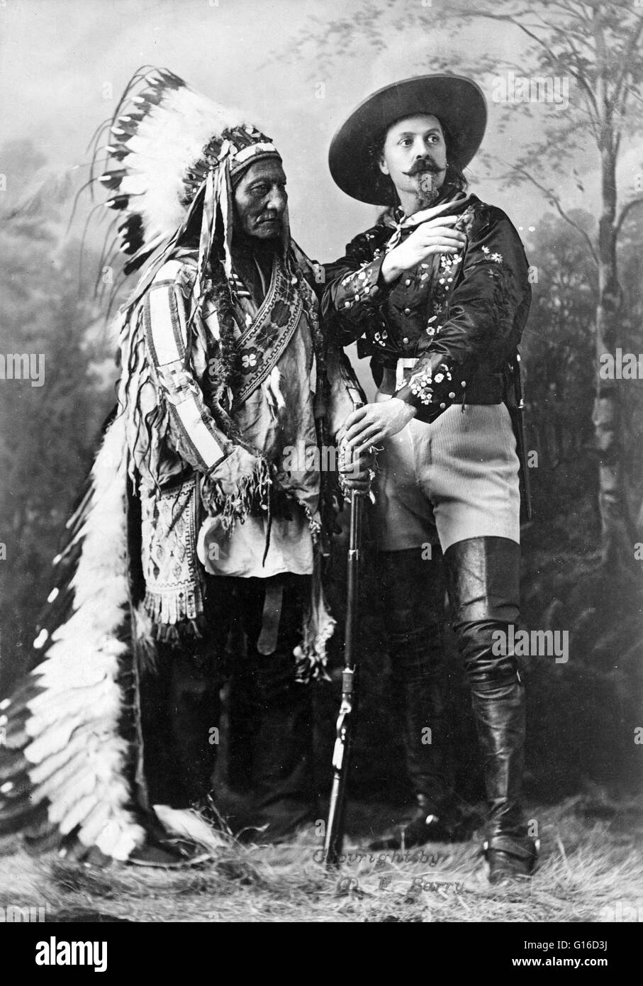 Sitting Bull and Buffalo Bill, taken by William Notman studios, Montreal, Quebec, Canada, during Buffalo Bill's - Stock Image