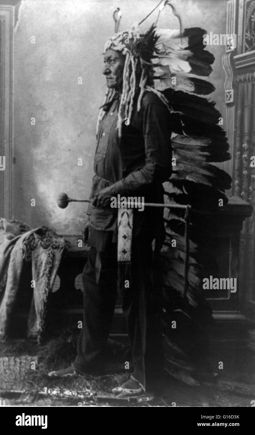 Sitting Bull, 1888. Sitting Bull (1831 - December 15, 1890) was a Hunkpapa Lakota holy man who led his people as - Stock Image
