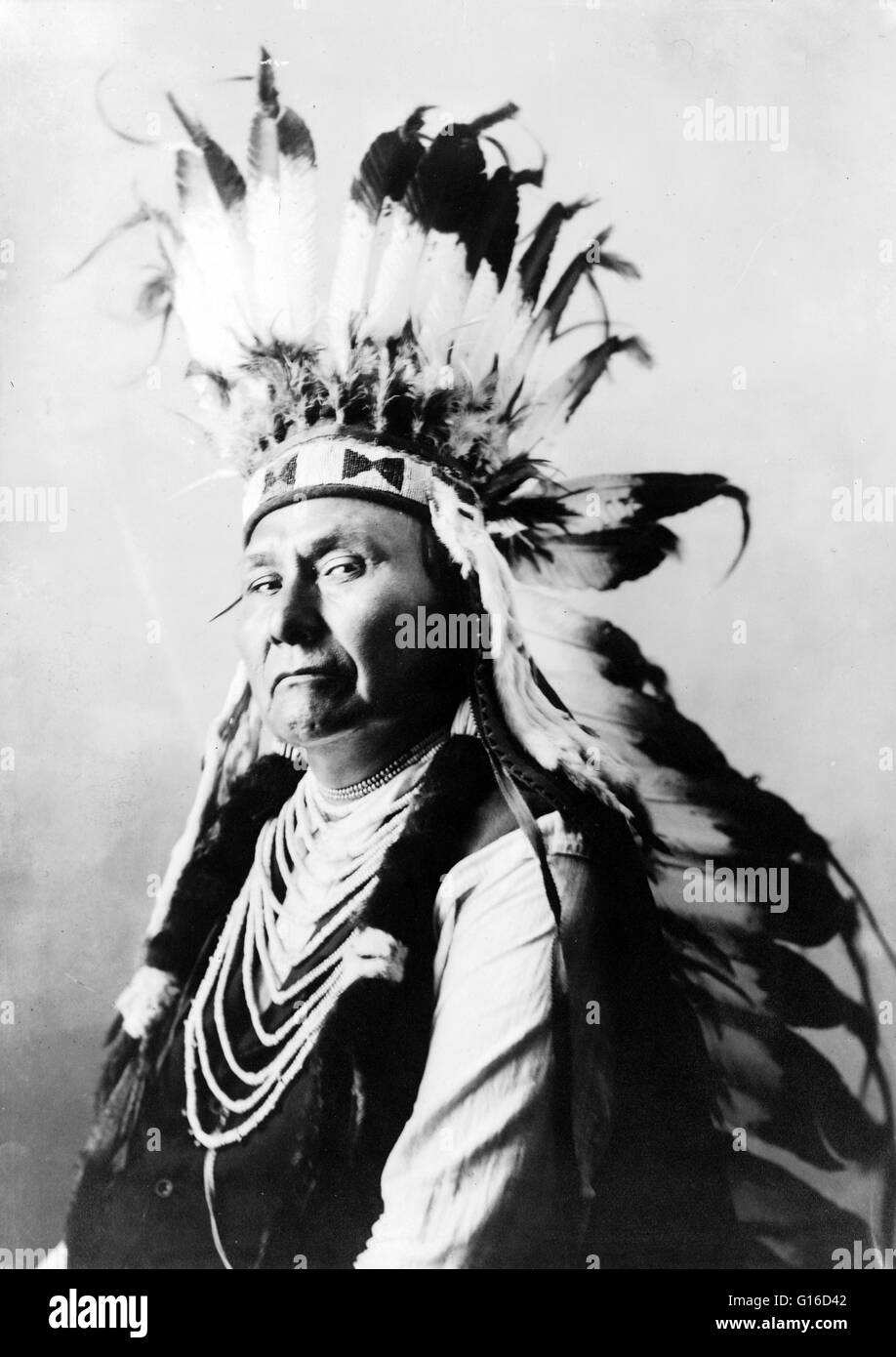 Chief Joseph photograph by De Lancey Gill, 1900. Hin-mah-too-yah-lat-kekt, (March 3, 1840 - September 21, 1904) - Stock Image