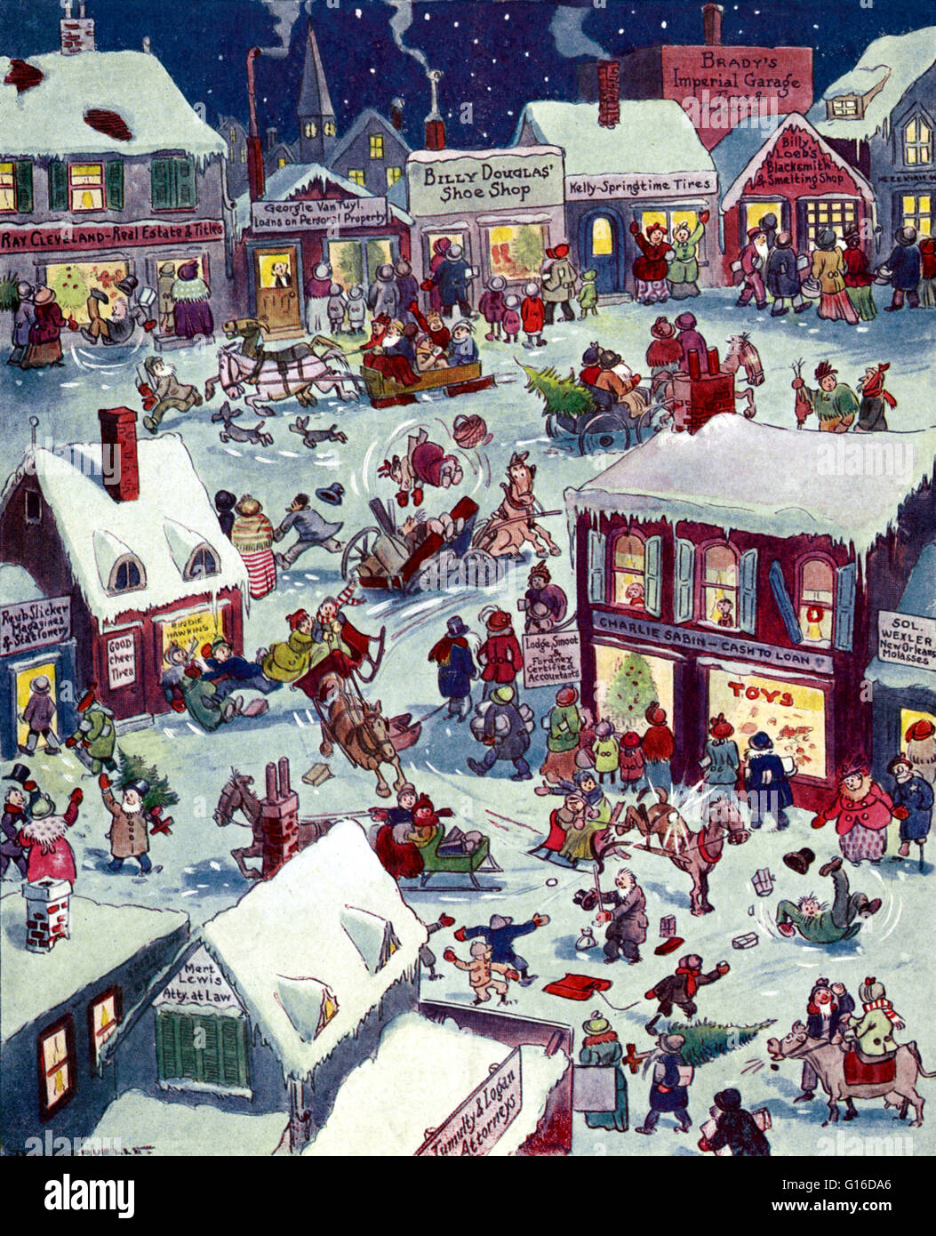 Entitled: 'Christmas eve at Yapp's Crossing' drawn by John B. Gruelle. Johnny Gruelle (December 24, - Stock Image