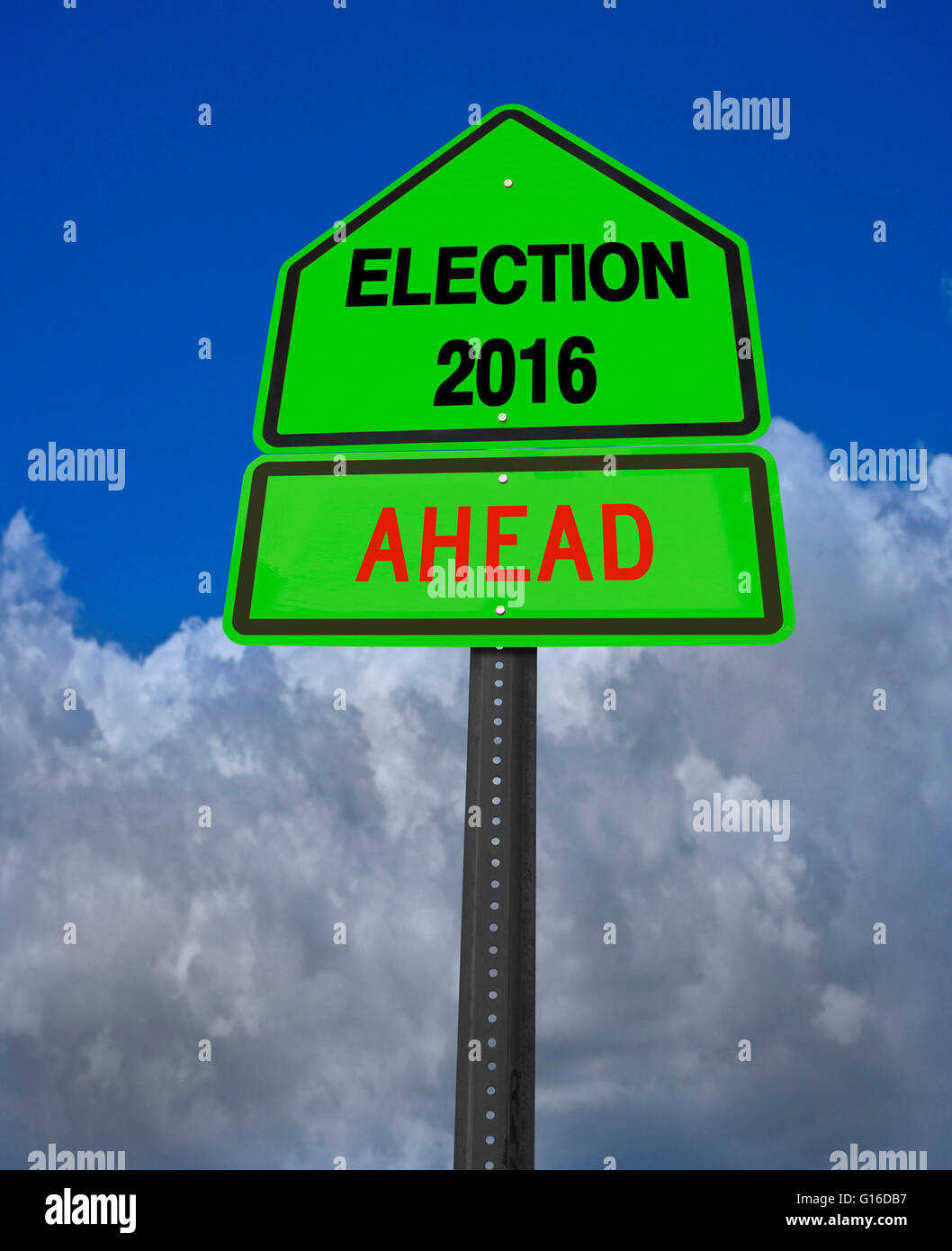 conceptual sign election 2016 ahead over dramatic blue sky - Stock Image