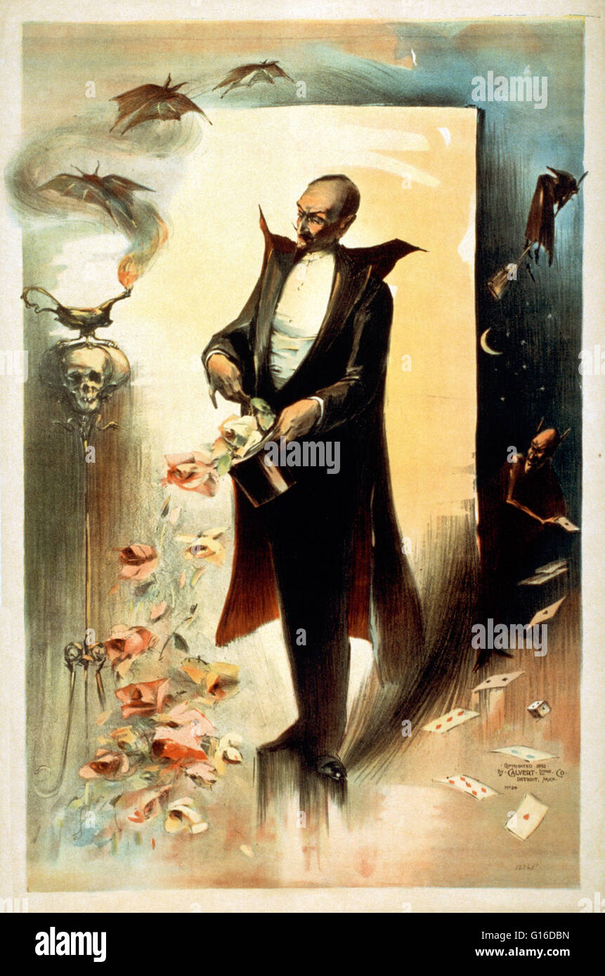 Entitled: 'Magician pulling roses out of top hat surrounded by supernatural beings' lithograph poster created - Stock Image