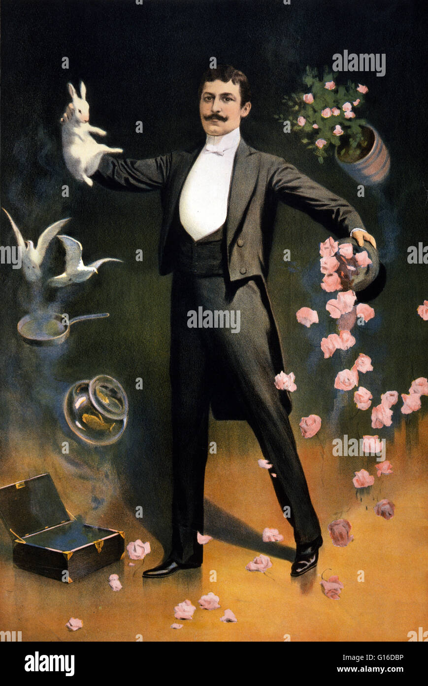 Entitled: 'Zan Zig performing with rabbit and roses, including hat trick and levitation' lithograph poster - Stock Image