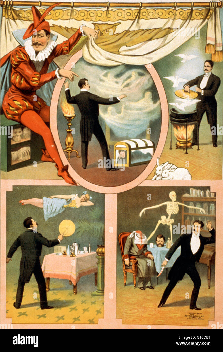 Entitled: 'Zan Zig performing in four magic vignettes' lithograph poster created by Strobridge & Company - Stock Image
