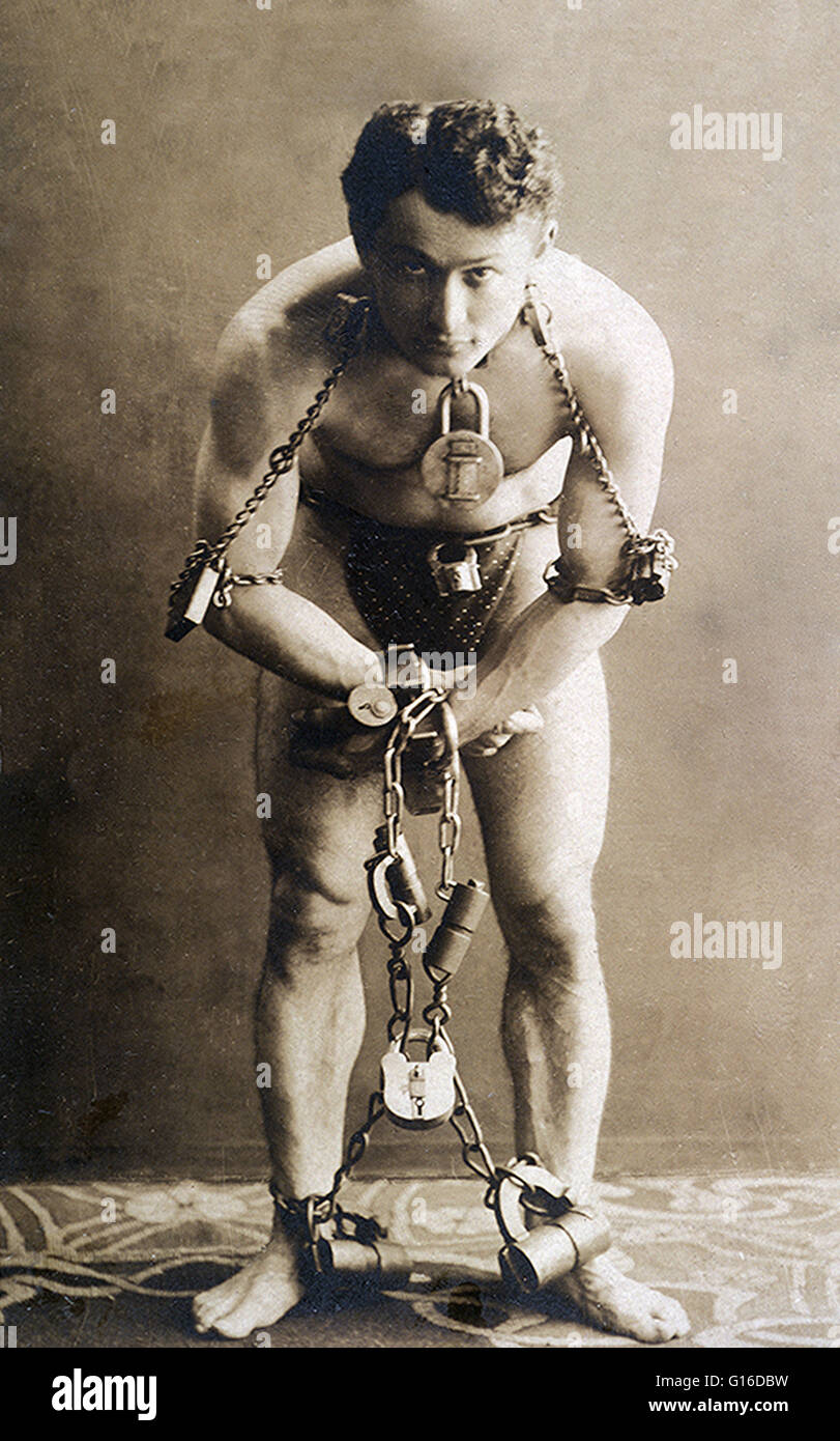 Harry Houdini (March 24, 1874 - October 31, 1926) was a Hungarian-American illusionist and stunt performer, noted - Stock Image