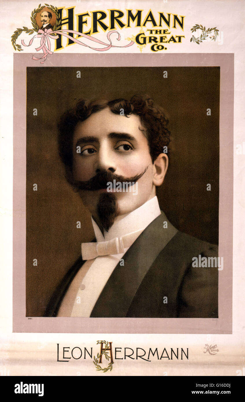 Entitled: 'Herrmann the Great Co' lithograph poster created by H.C. Miner Lithographing Company, 1898. Leon - Stock Image