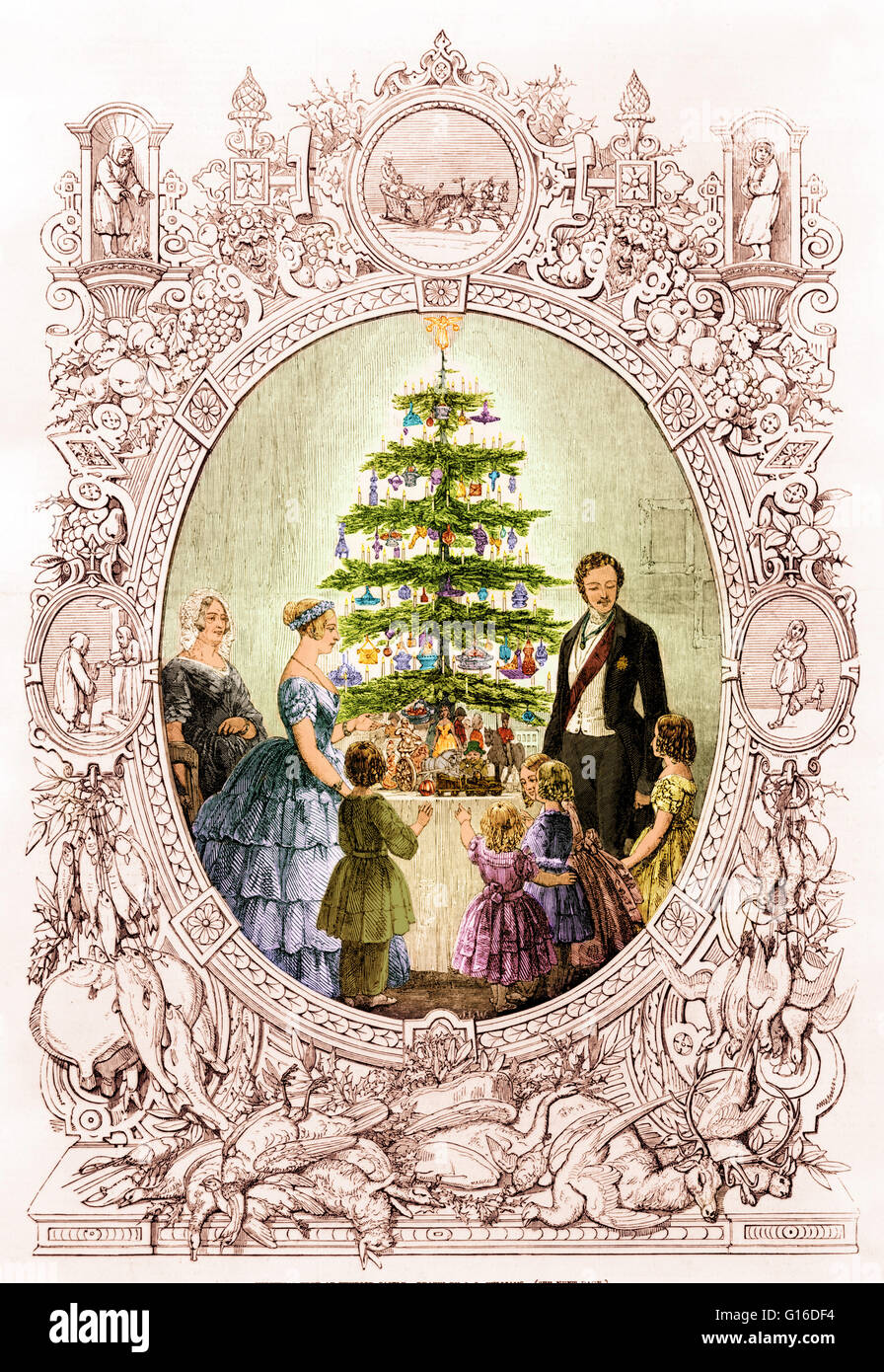 """Entitled: """"Christmas tree at Windsor Castle"""" engraving of the royal family around Christmas tree, depicted in an Stock Photo"""
