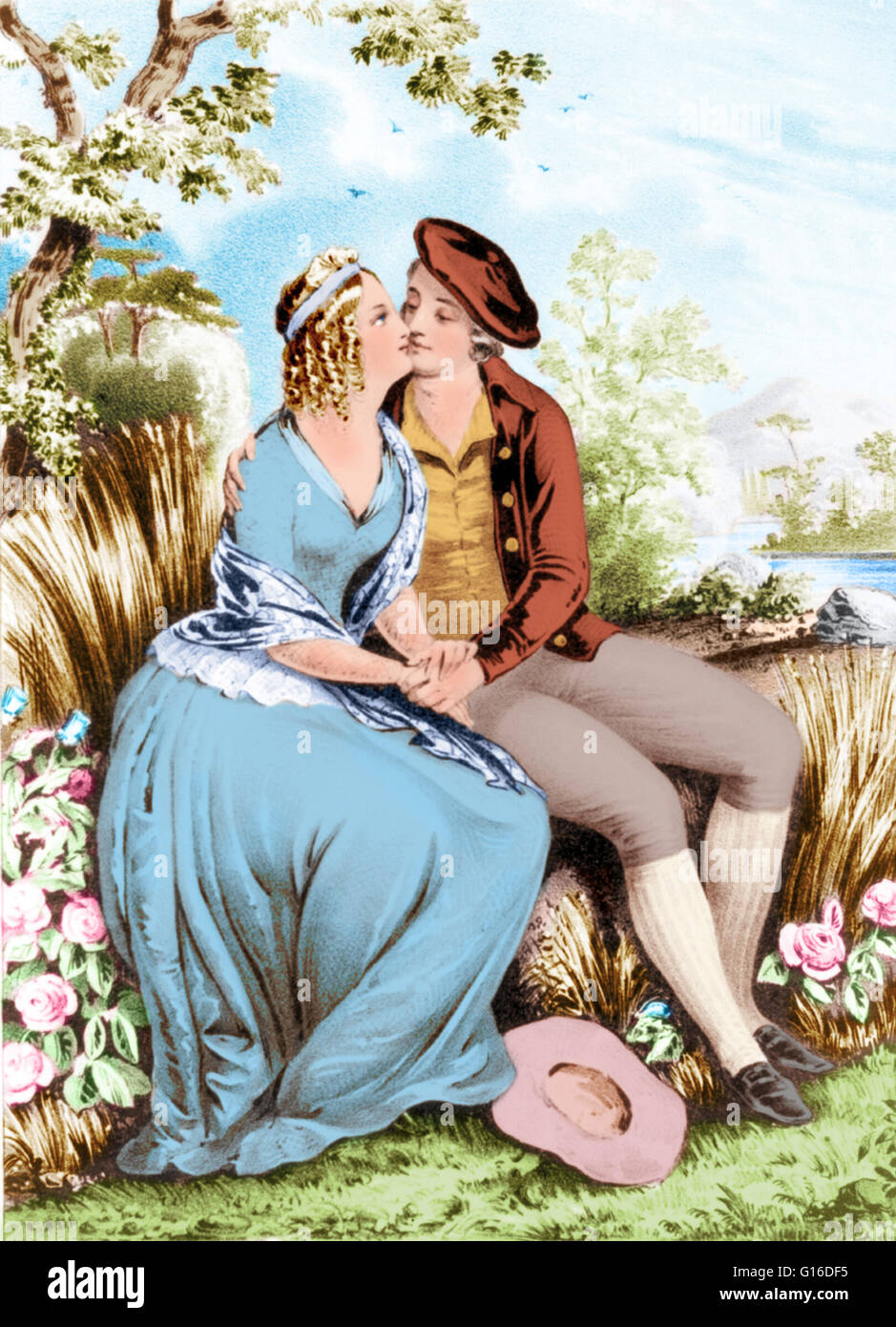 Lithograph of Robert Burns and Mary Campbell sitting in a woodland setting, holding hands, and kissing. Robert Burns - Stock Image