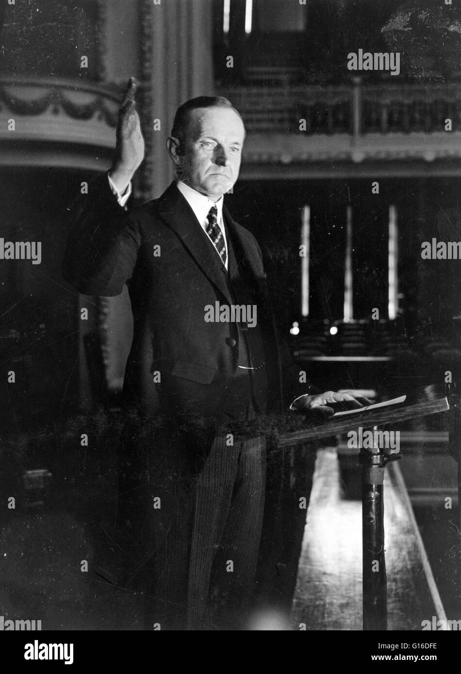 President Coolidge making his speech of acceptance, 1924. John Calvin Coolidge, Jr. (July 4, 1872 - January 5, 1933) Stock Photo