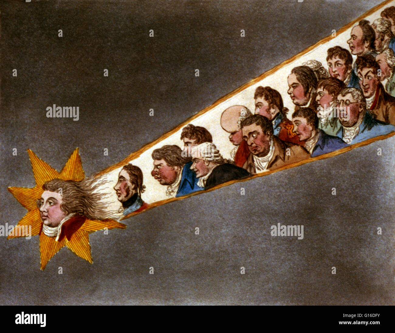 Entitled: 'The comet of 1811' The head of the Prince of Wales in the head of a comet. In the comet's - Stock Image