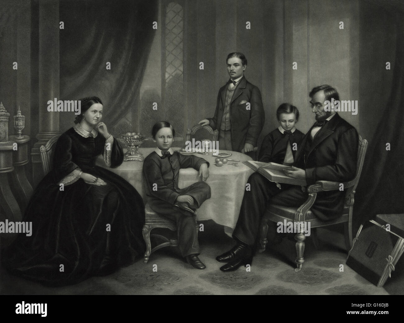 Lincoln family in 1861, painted by F.B. Carpenter, engraved by J.C. Buttre. Abraham Lincoln (February 12, 1809  Stock Photo