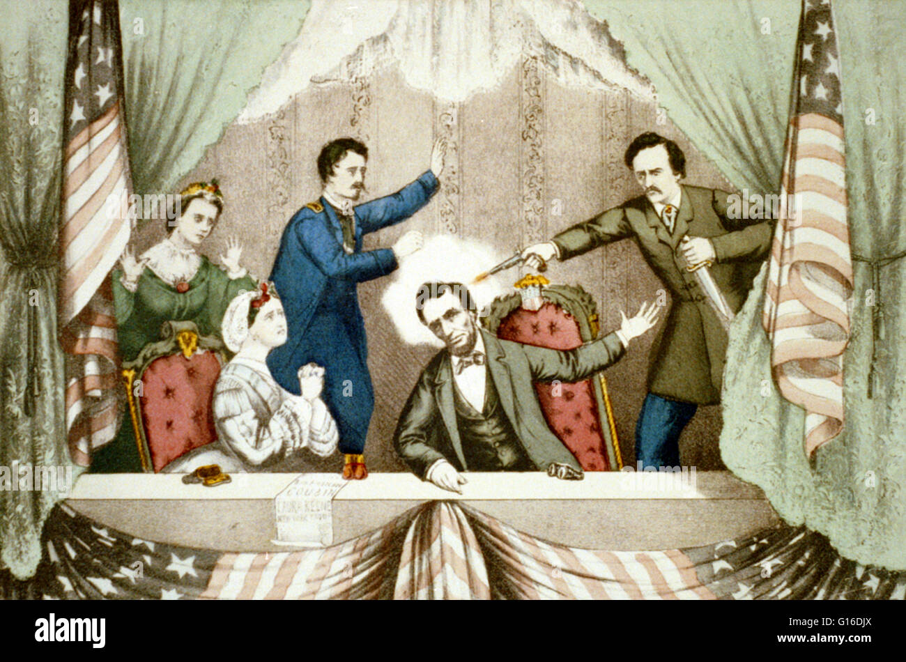 Assassination of President Lincoln: at Ford's Theatre, Washington, D.C., April 14th, 1865. Print shows the president's Stock Photo