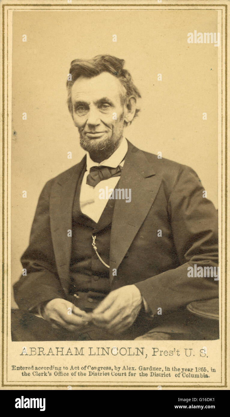 Photograph from the last formal portrait sitting, February 5, 1865, in Washington, D.C. 'One of five poses taken - Stock Image