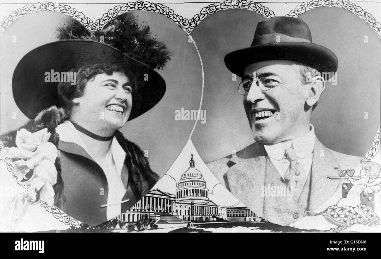 Woodrow Wilson and Edith Bolling Galt portraits cut in the shape of overlapping hearts with rose border; drawing Stock Photo