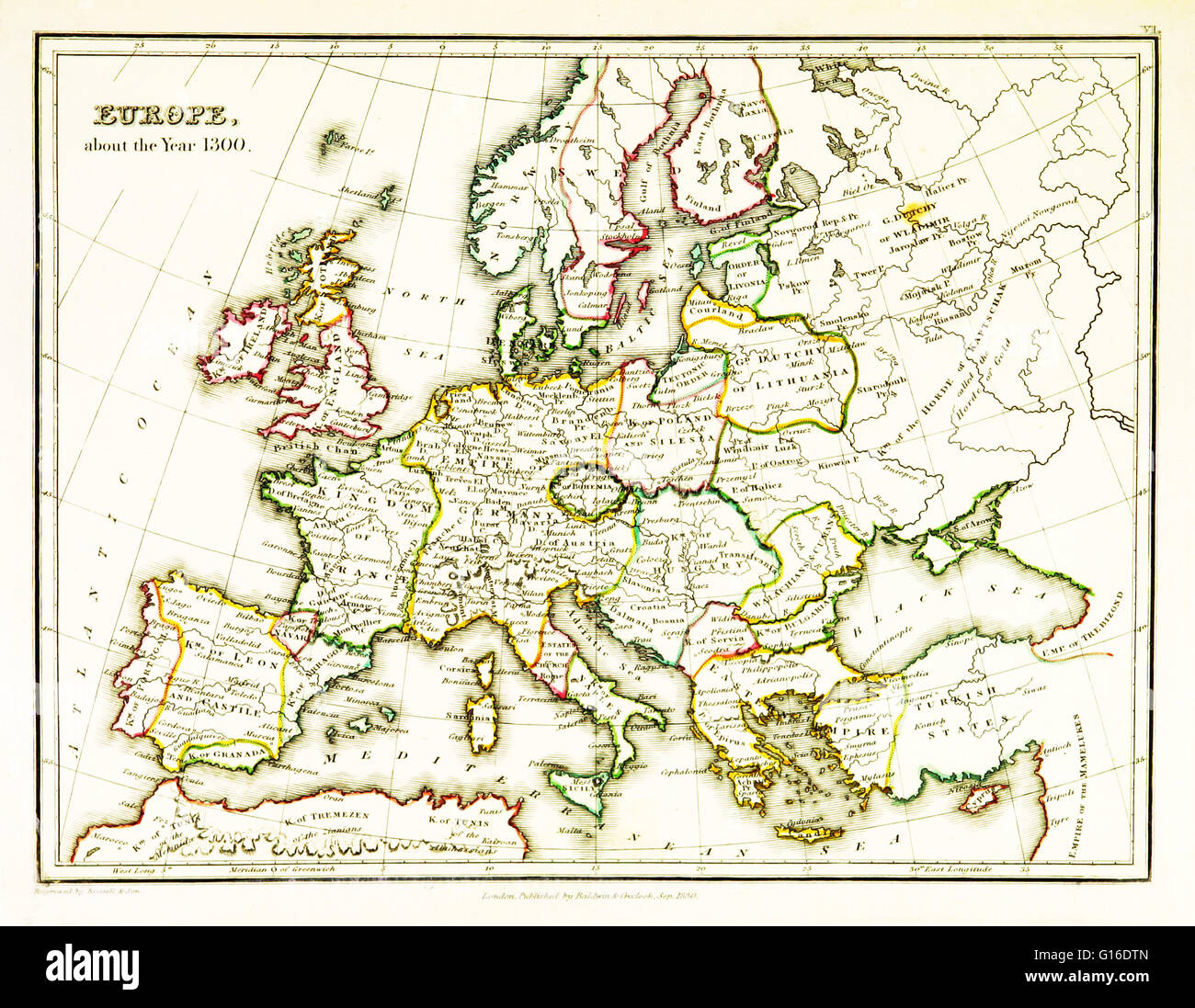 14th Century Map Of Europe.Historical Map Of Europe Stock Photos Historical Map Of Europe