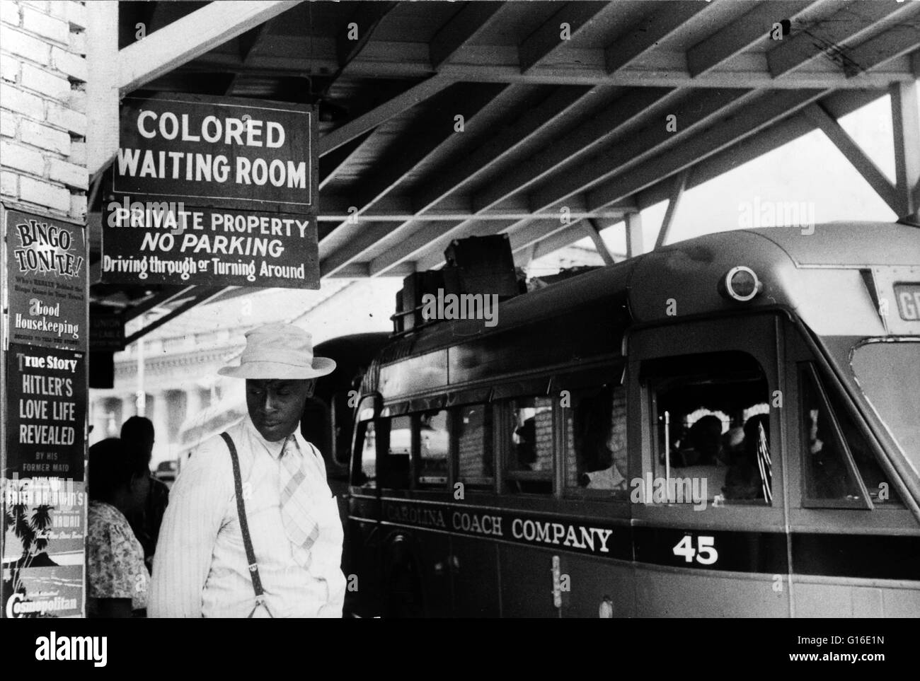 Entitled: 'At the bus station in Durham, North Carolina.' Segregation is separation of humans into racial - Stock Image
