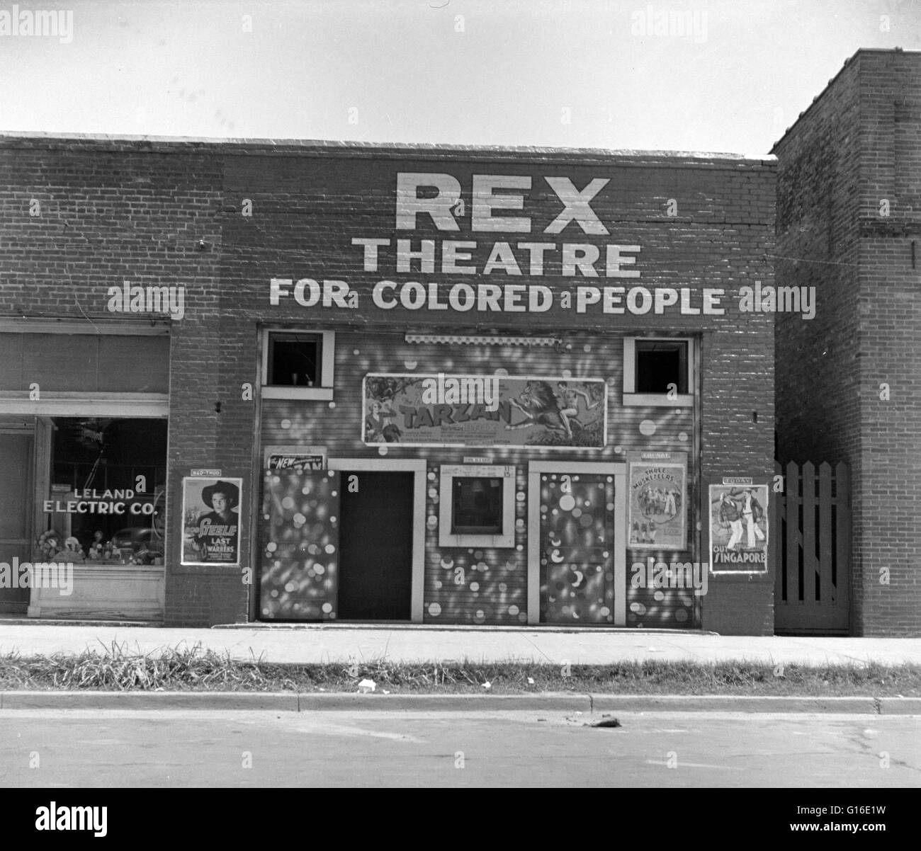 Entitled: 'Theatre in Leland, Mississippi.' Segregation is separation of humans into racial groups in daily - Stock Image