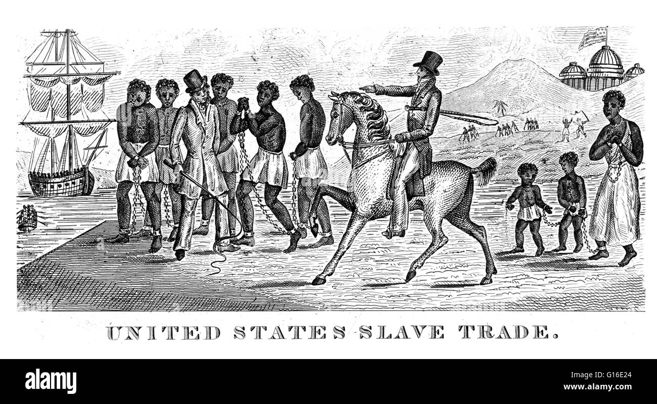 Entitled: 'United States slave trade, 1830.' An abolitionist print possibly engraved in 1830, but undocumented - Stock Image