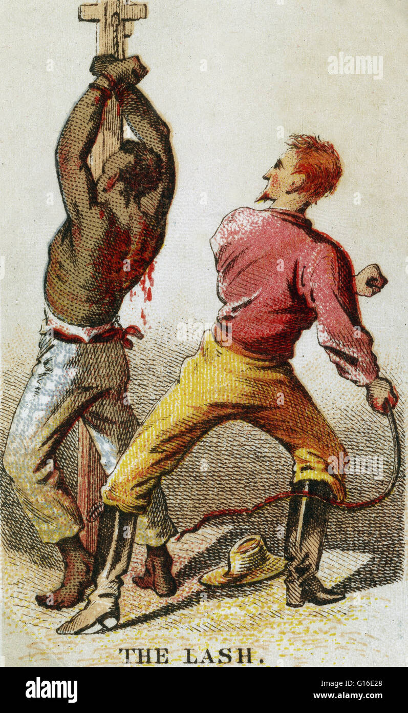 Entitled: 'The Lash' showing bound African-American slave being whipped. The Atlantic slave trade took place - Stock Image