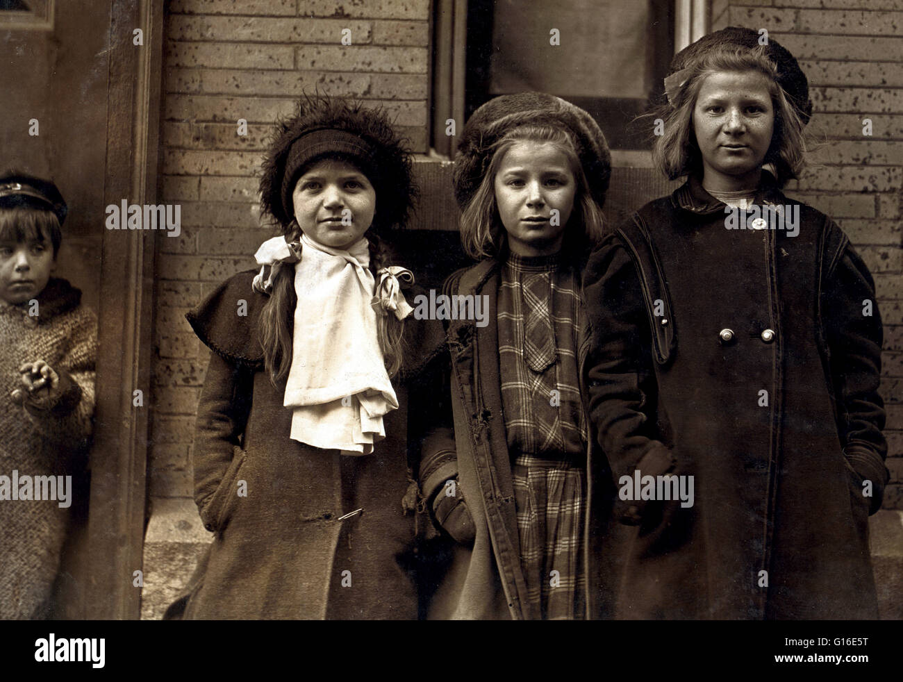 "Entitled: ""Newsgirls waiting for papers. Largest girl, Alice Goldman has been selling for 4 years. Newsdealer says Stock Photo"