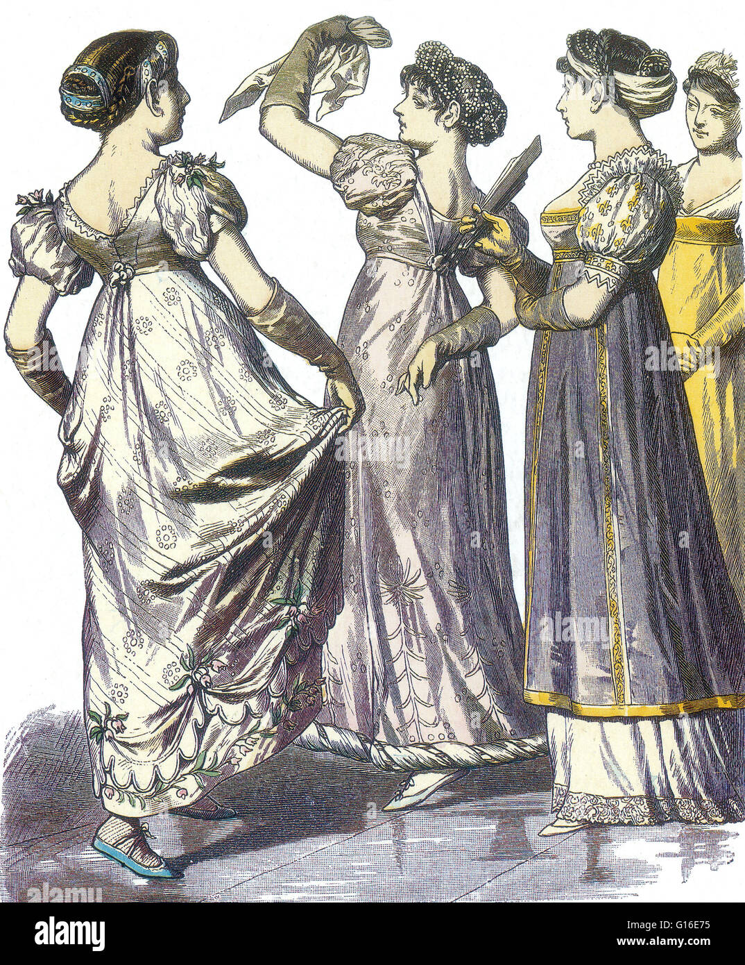 Entitled: 'French women with different costumes from 1808-09 published in Munchener Bilderbogen, 1878.' - Stock Image