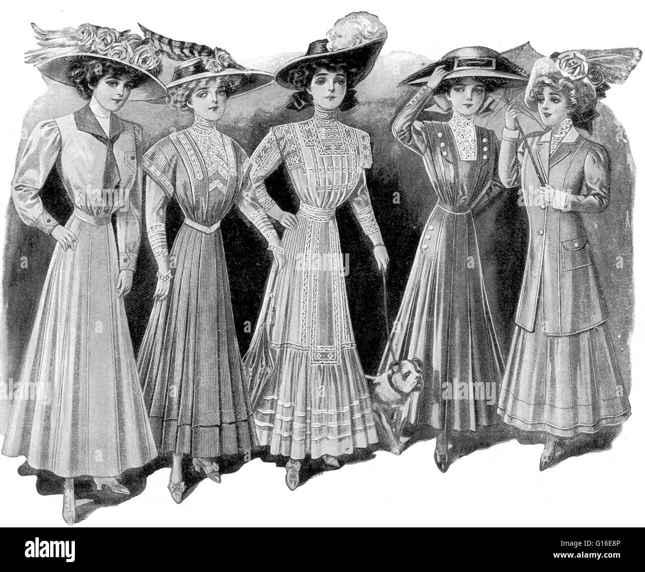 Entitled: 'Ready-made women's fashion, 1900's.' Fashion is a distinctive and often habitual trend - Stock Image